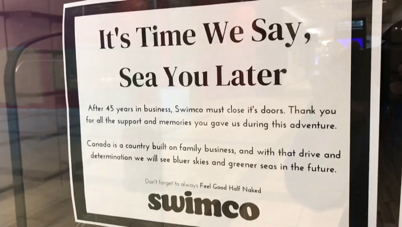 Calgary-based retailer Swimco announced its closing its doors Monday, after 45 years. It had 19 stores across Canada