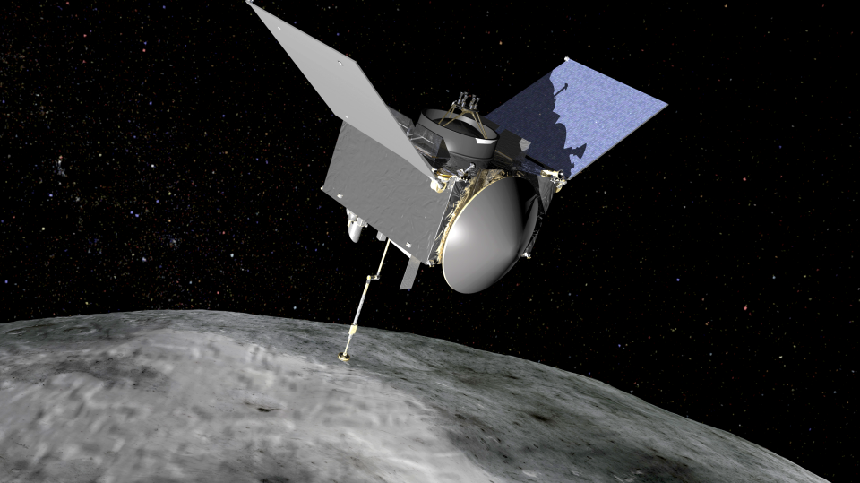 OSIRIS-REx extends its sampling arm as it moves in to make contact with the asteroid Bennu in this artist's rendering. (Credit: NASA/Goddard Space Flight Center)
