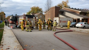 Firefighters are on the scene of a blaze in Harriston, Ont. on Tuesday, Oct. 20, 2020