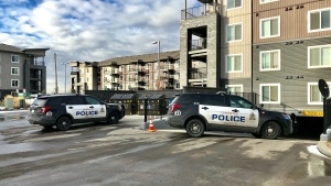 EPS is investigating after a man was found in a parking lot with gunshot wounds. Tuesday Oct. 20, 2020 (Sean Amato/CTV News Edmonton)