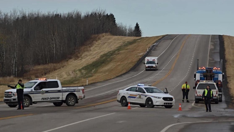 "Mounties and STARS responded to a ""serious accident"" on a northern Alberta highway on Tuesday, Oct. 20, 2020. (Arthur C. Green/ River Radio)"