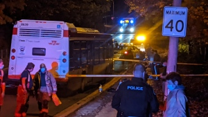 Police are on scene at a stabbing in North York that left a man with serious injuries. (CTV News Toronto/Adam Frisk)