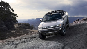 This photo provided by General Motors Co. shows the 2022 GMC Hummer EV. On Tuesday, Oct. 20, 2020, the company's GMC brand introduced the new electric Hummer pickup, with a high-end version due in showrooms sometime in the fall of 2021. (Courtesy of General Motors Co. via AP)
