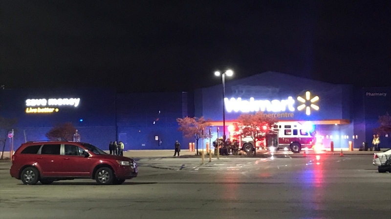 Crews respond to a fire call at the Walmart in Sunrise Centre on Oct. 20, 2020 (Johnny Mazza / CTV News Kitchener)