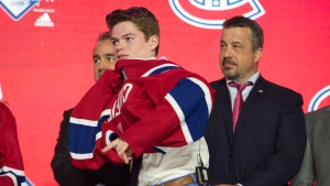Montreal Canadians select Cole Caufield during the first round NHL draft at Rogers Arena in Vancouver, Friday, June, 21, 2019. THE CANADIAN PRESS/Jonathan Hayward
