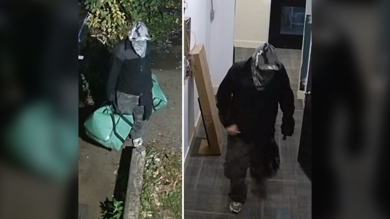 """A """"person of interest"""" captured on surveillance footage following a break-in at a downtown Pembroke business on Oct. 19, 2020. (Photos submitted by Ontario Provincial Police)"""