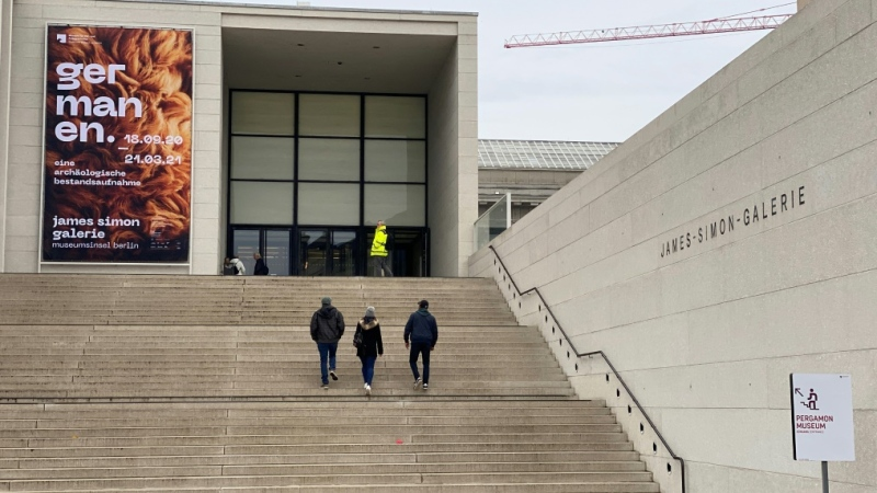 Visitors head Wednesday to the Pergamon Museum, one of several in Berlin where sculptures, paintings and Egyptian sarcophagi were damaged by vandals. (AFP)