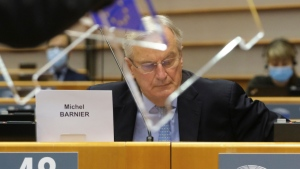 European Commission's Head of Task Force for Relations with the United Kingdom Michel Barnier during plenary session at the European Parliament in Brussels, on Oct. 21, 2020. (Olivier Hoslet, Pool via AP)