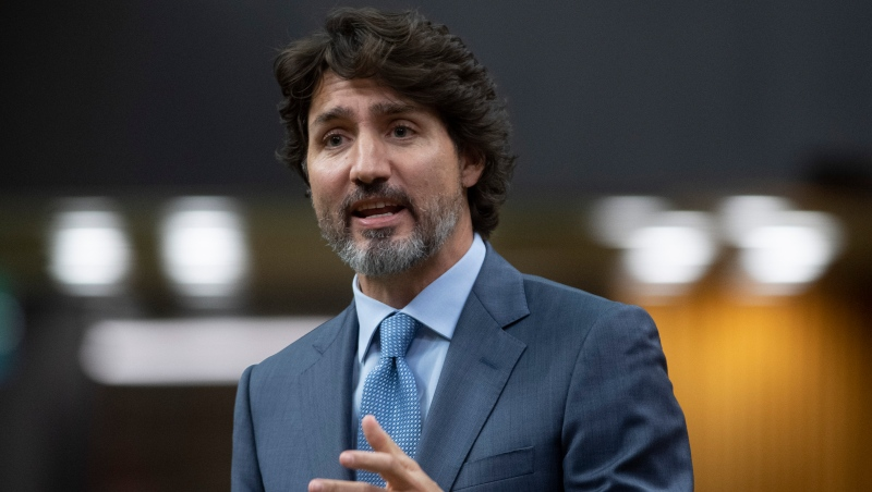 Prime Minister Justin Trudeau responds to a question during Question Period in the House of Commons Tuesday October 20, 2020 in Ottawa. THE CANADIAN PRESS/Adrian Wyld
