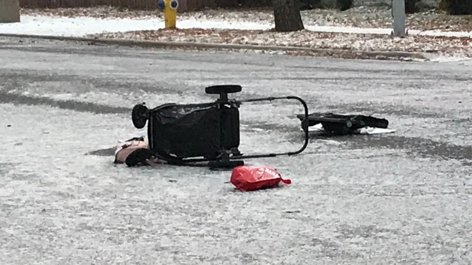 Stroller after collision