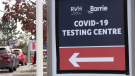 The Royal Victoria Regional Health Centre COVID-19 testing clinic on Sperling Drive in Barrie, Ont. (Mike Arsalides/CTV News)