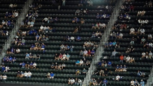 Fans watch Game 1 of the baseball World Series between the Los Angeles Dodgers and the Tampa Bay Rays, in Arlington, Texas, on Oct. 20, 2020. (David J. Phillip / AP)