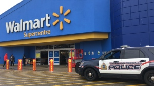 The Walmart location at the Sunrise Centre in Kitchener seen on Oct. 21, 2020. Police were on scene investigating an arson that happened there, as well as at two other locations in the region. (Natalie van Rooy / CTV Kitchener)