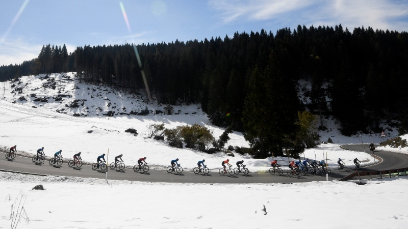 Cyclists pedal during the 17th stage of the Giro d'Italia cycling race from Bassano del Grappa to Madonna di Campiglio, Italy, on Oct. 21, 2020. (Fabio Ferrari / LaPresse via AP)