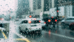 City traffic in the rain.