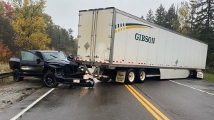 A collision between a pickup truck and transport truck caused Highway 9 in Mono Mills to be closed for several hours on Wed., Oct. 21, 2020. (OPP Central Region/Twitter)