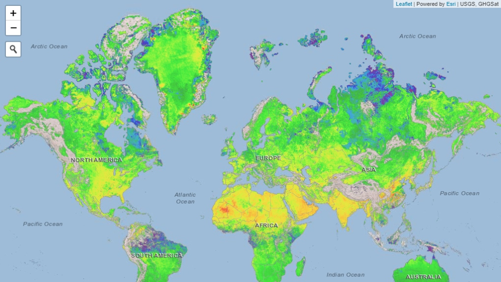 Methane concentrations around the world