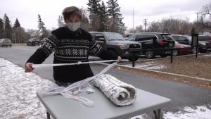 Tekla Mattila says it takes hundreds of plastic bags to make a single mat. (Jayda Taylor/CTV News)