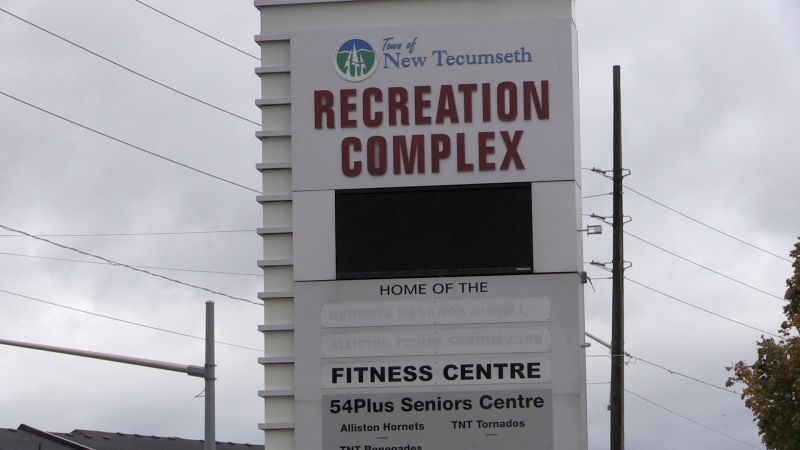 New Tecumseth Recreation Complex is banned for hot spot visitors as of Wed., Oct. 21, 2020. (Mike Arsalides/CTV News)