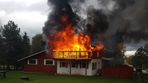 Fire destroys a home at the bottom of the ski hill in The Town of The Blue Mountains on Wed., Oct. 21, 2020. (Fire Chief Steve Conn/The Town of The Blue Mountains)