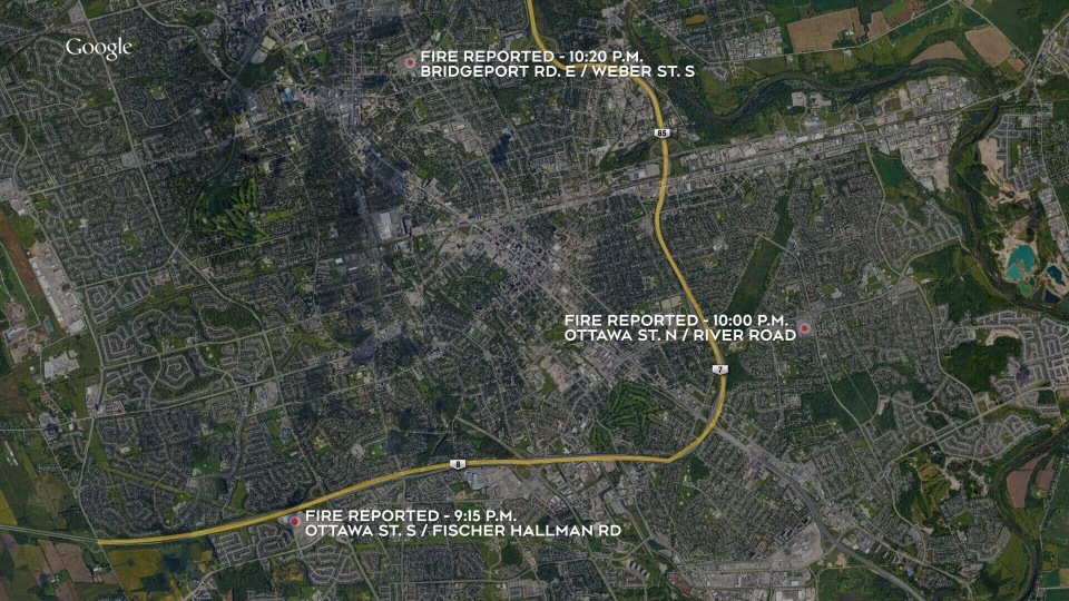 This map shows where three fires broke out at Walmart locations in Waterloo Region. Police are investigating them as arson. (Source: Google Maps)