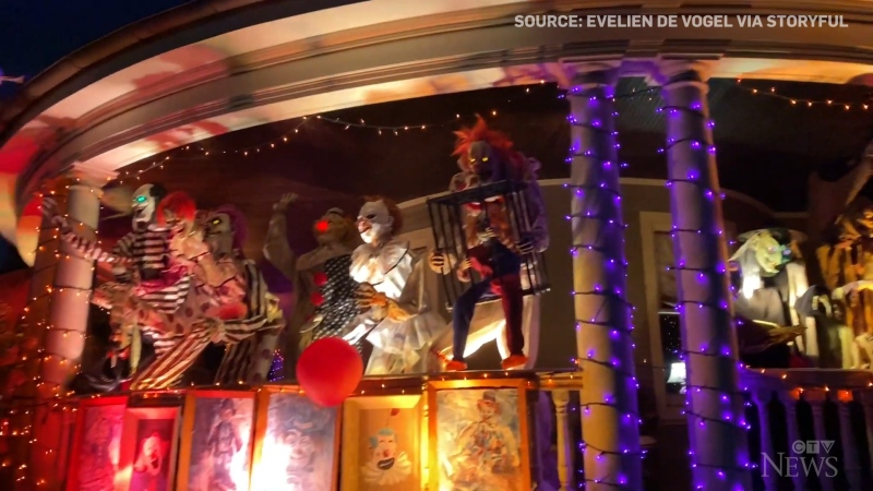 With life-size clowns, skeletons and ghosts, an NYC home is attracting crowds with its elaborate and spooky Halloween display.
