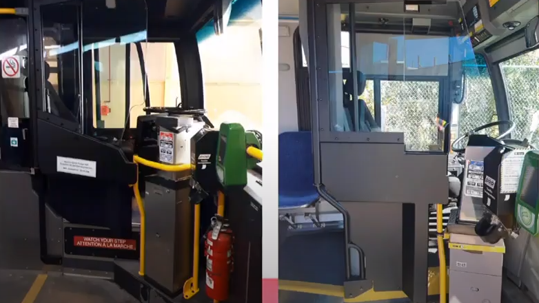 OC Transpo conducted tests on new permanent barriers for drivers. (Photo courtesy: City of Ottawa)