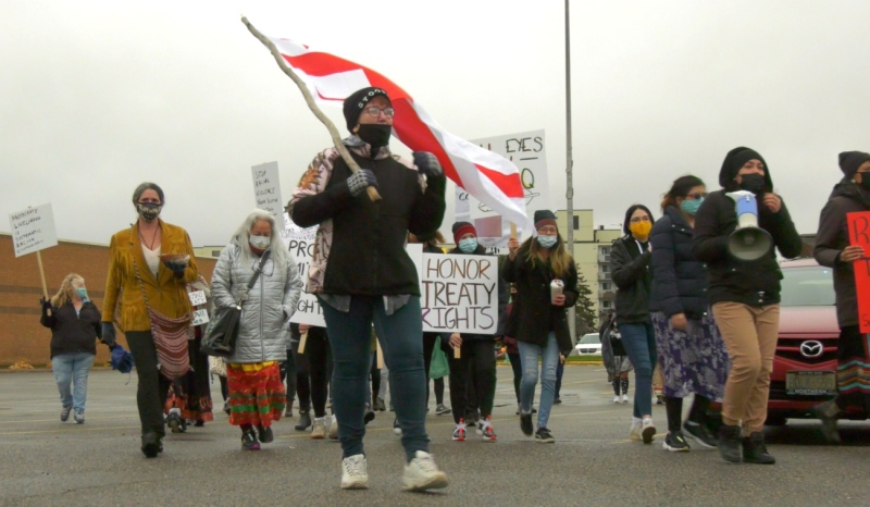 On a damp day in Sault Ste. Marie, nearly 50 people participated in a peaceful march to show their support to the Mi'Kmaq fishers in Nova Scotia. (Jairus Patterson/CTV News)