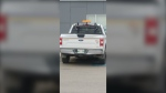 Jeff Toews took a photo of a city of Winnipeg truck parked in a handicap parking space outside of a Tim Hortons on McPhillips Street. The city of Winnipeg is investigating. (Source: Jeff Toews)