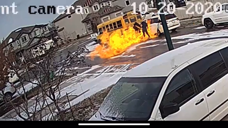 EPS say these two people set this van on fire after they shot a 22-year-old man in the Tamarack neighbourhood on Tuesday, Oct. 20, 2020. (Supplied)