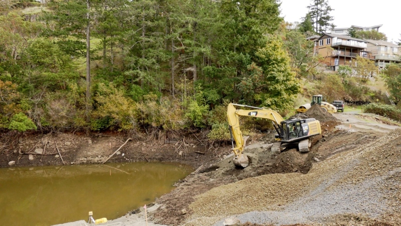 Work at Lookout Brook Dam in Colwood is expected to finish in December under its original budget: (CTV News)