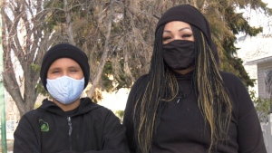 Faith Eagle and her 11-year-old son Jonathan. (Carla Shynkaruk/CTV News)