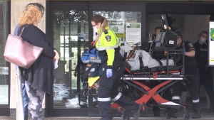 One person was taken to hospital after an assault at London City Hall on Wednesday, Oct. 21, 2020.