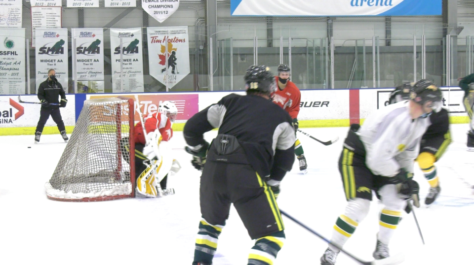 The University of Regina Cougars men's hockey team trains at the Co-operators Centre off campus, even though no games will occur this season. (CTV News)