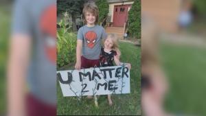 "The Wriekkinen's lawn sign that says ""U MATTER 2 ME."" (source: Wriekkinen family)"