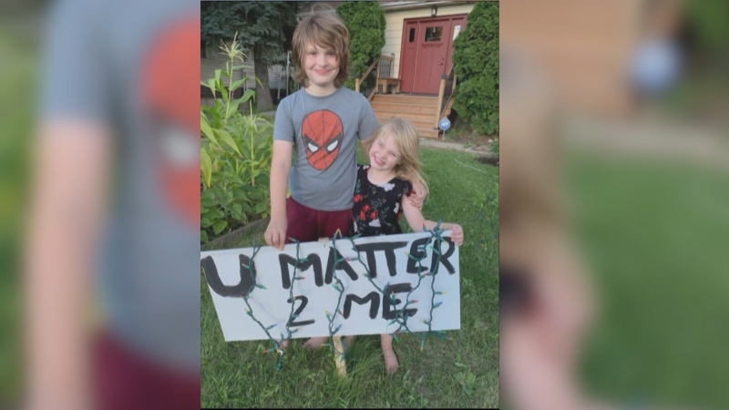 "The Wriekkinen's lawn sign that says ""U MATTER 2 ME."" (source: Wriekkinen family)"