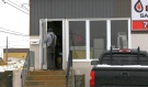 The front door at NASCO Propane in Timmins is under repair after a would-be thief pried it open to gain entry. The store manager said the robbery was foiled when an employee showed up for work and noticed someone was still inside the building. (Lydia Chubak/CTV News)