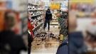 Man smashes bottles on Irish supermarket floor