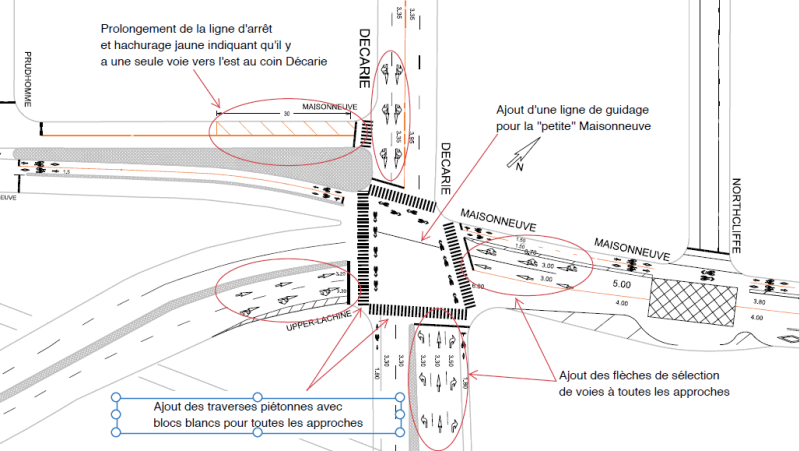 Technical plans for new markings at De Maisonneuve and Decarie intersection (Image: NDG)