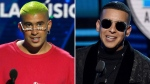 Bad Bunny, left, accepts the award for social artist of the year at the Billboard Latin Music Awards on April 25, 2019, in Las Vegas and Daddy Yankee accepts the award for favorite male artist at the Latin American Music Awards at the Dolby Theatre on Oct. 25, 2018, in Los Angeles. (AP Photo)