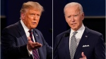This combination of Sept. 29, 2020, file photos shows US. President Donald Trump, left, and former Vice President Joe Biden during the first presidential debate at Case Western University and Cleveland Clinic, in Cleveland, Ohio. (AP Photo/Patrick Semansky, File)