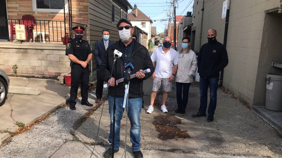 Officials launch the Via Italia Alley Safety Project on Wednesday, Oct. 21, 2020 in Windsor, Ont. (Alana Hadadean / CTV Windsor)