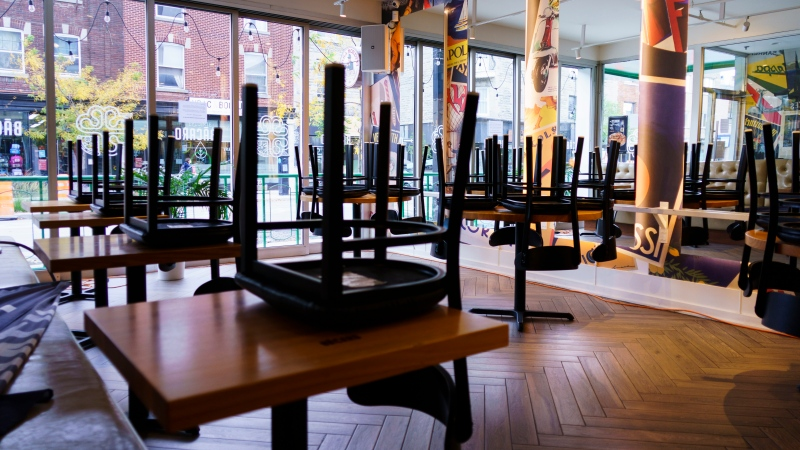 Chairs are stored at a pizza restaurant in Montreal, on Wednesday, September 30, 2020. Bars, restaurant and dining rooms in red zones in Quebec will close at midnight for 28 days as of midnight Wednesday. THE CANADIAN PRESS/Paul Chiasson