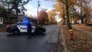 Police respond to a barricaded person in the College Hill/Montgomery Street area in Fredericton on Oct. 22, 2020. (Laura Brown/CTV Atlantic)