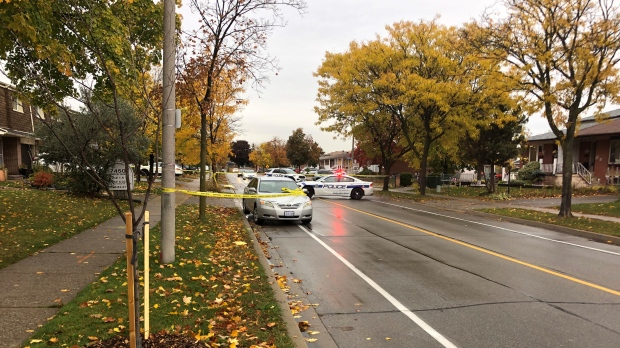 Police are investigating after a woman was struck by a car in Mississauga on Oct. 22, 2020. (Sean MacInnes/CTV News Toronto)