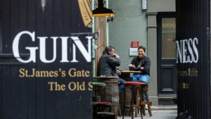 Dublin was muted on Thursday, as Ireland return to a lockdown to fight a coronavirus second wave. (AFP)