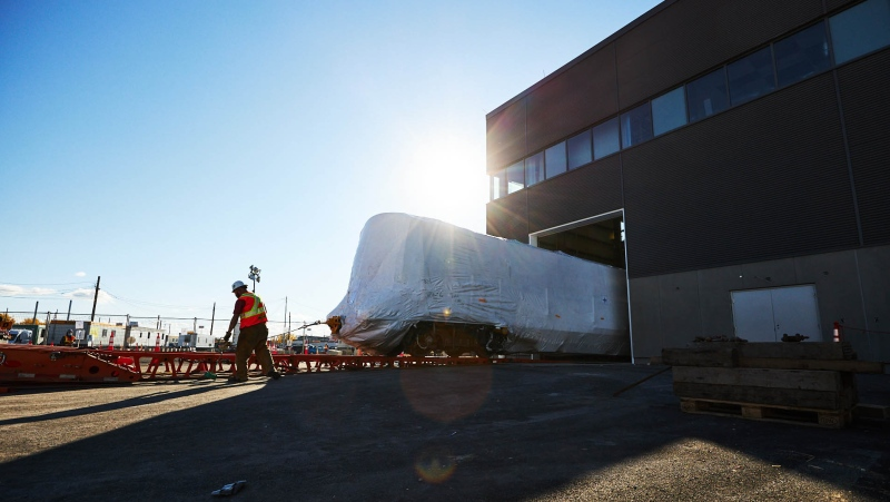 The first four cars destined for the Reseau express metropolitain (REM) light rail line have arrived in the Montreal area. SOURCE: Alstom / M. Glucksman