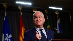 Conservative leader Erin O'Toole holds a press conference in Ottawa on Thursday, Oct. 22, 2020. THE CANADIAN PRESS/Sean Kilpatrick