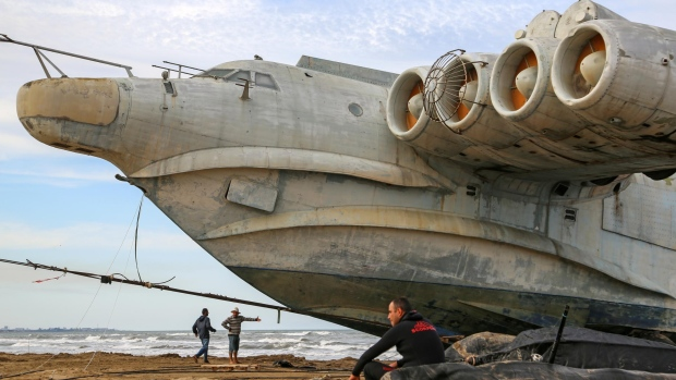 The Lun-class ekranoplan on the Caspian Sea coast. After over 30 years in the military port, in 2020 the Caspian Flotilla presented the ekranoplan to the city of Derbent, where it will be exhibited in Patriot Park. (Musa Salgereyev/TASS/Getty Images/CNN)