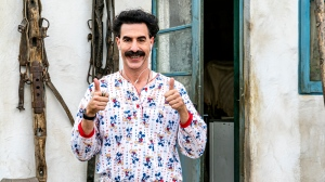 "This image released by Amazon Studios shows Sacha Baron Cohen in a scene from ""Borat Subsequent Moviefilm."" (Amazon Studios via AP)"